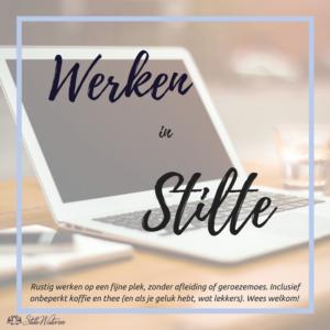 Rustig werken op een fijne plek, zonder afleiding of geroezemoes. Inclusief onbeperkt koffie en thee (en als je geluk hebt, wat lekkers). Wees welkom!